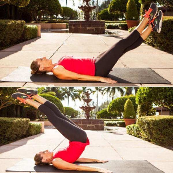 5. criss crossed hip lift switch 420x420 Bài tập thể dục giảm mỡ bụng