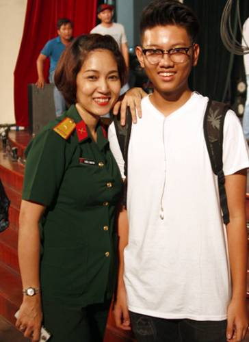 Thanh Thúy bên con trai 15 tuổi.